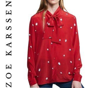 ZOE KARSSEN silk star blouse in red